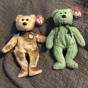 TY Bears Clubby and Shamrock
